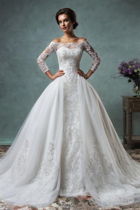Amelia Sposa 2016 New Long Sleeves Lace Mermaid Wedding Dresses Off ...