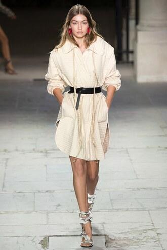 dress tunic tunic dress oversized gigi hadid model isabel marant sandals paris fashion week 2016