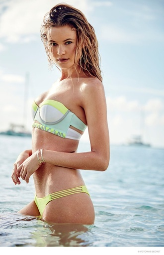 swimwear victoriasecret vs bkini girls beach water swimming hot 2015 victoria secret show bandeau swimsuit pastel swimwear