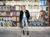 alice point,blogger,fur coat,faux fur coat,green coat,ripped jeans,black boots,mini bag,white top,winter outfits
