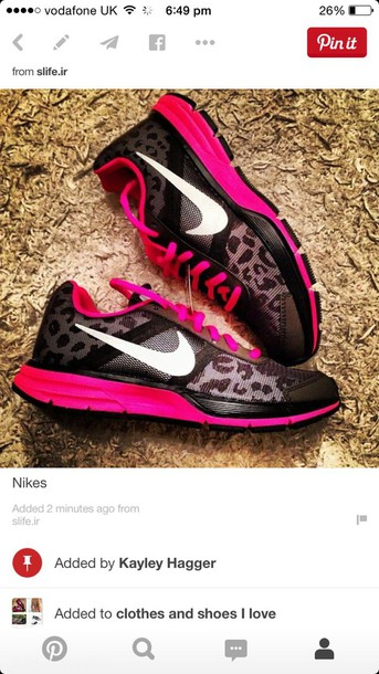 shoes nike leopard print pink and black k ttrainers