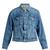 Inverted-pleat box-cut denim jacket