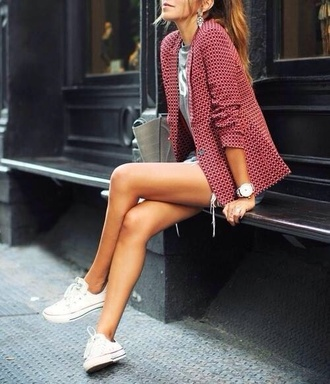 jacket blazer checkered red blouse girly girly outfits tumblr tumblr outfit tumblr cute cute outfits nice nice outfit dotted polka dots classy burgundy