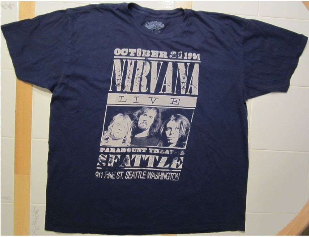 Nirvana paramount theatre seattle adult size xl blue t