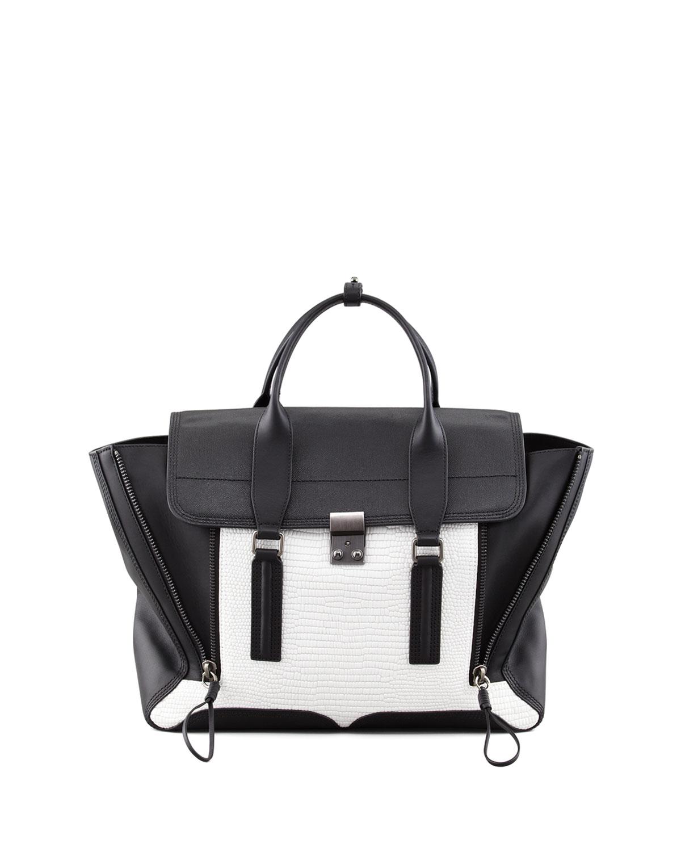 3.1 Phillip Lim Pashli Colorblock Satchel Bag, White/Black
