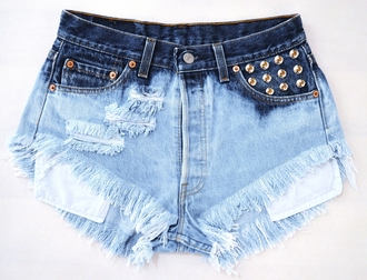 jeans high waisted studded shorts ripped jeans vintage levi ombre studs shorts