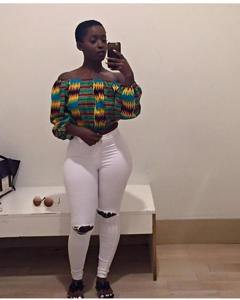 7721192761374 shirt african print off the shoulder top multicolor blouse wax fabric  african style off the shoulder
