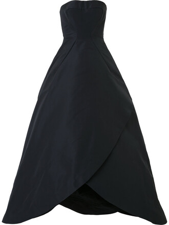 gown strapless women ball black silk dress