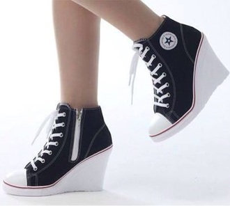 shoes black heels converse wedge heels wedge sneakers