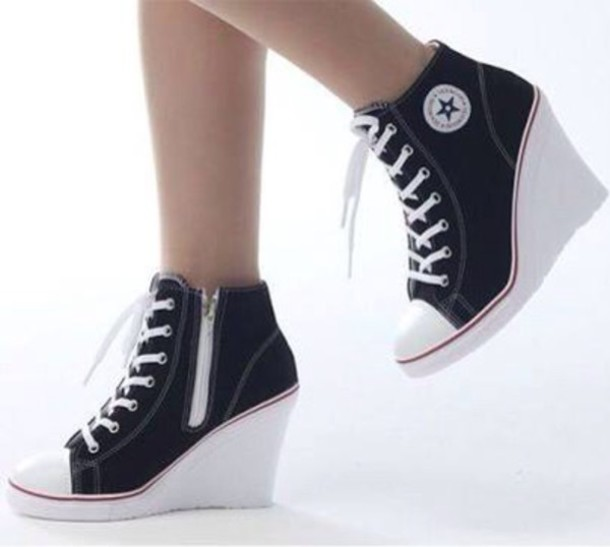 e0918e02d79 shoes black heels converse wedge heels wedge sneakers