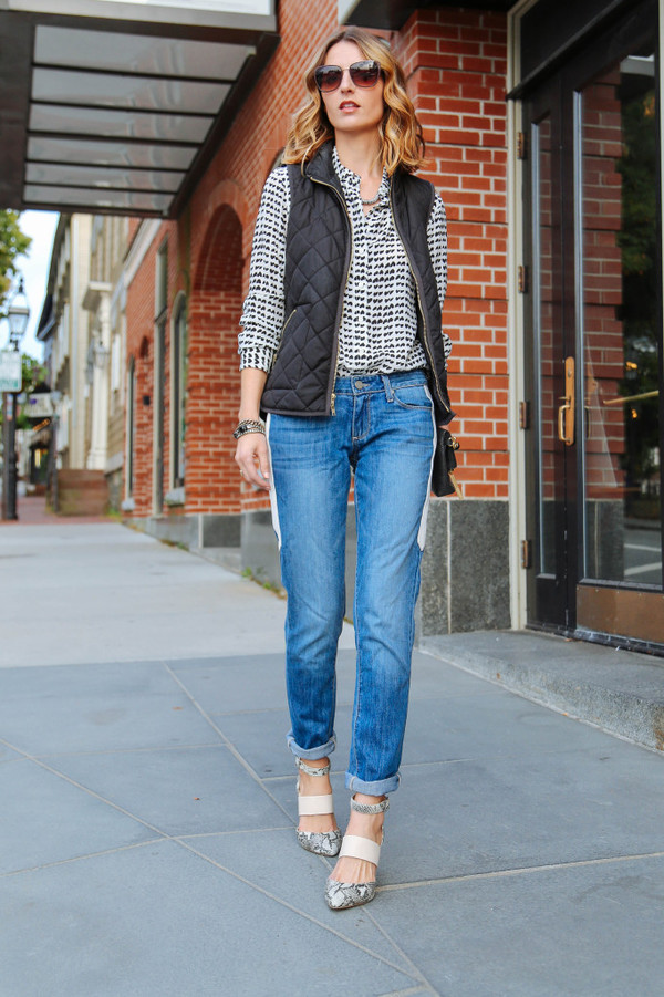 prosecco and plaid blogger jeans jacket blouse jewels quilted vest black vest blue jeans denim sunglasses printed shirt cuffed jeans sandals sandal heels high heel sandals