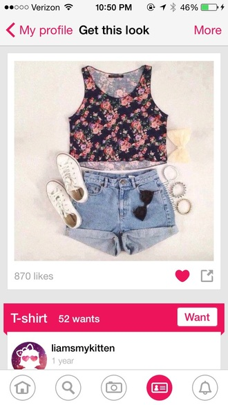 t-shirt crop tops floral tank top floral crop top tank top shorts summer top sunglasses jewlery