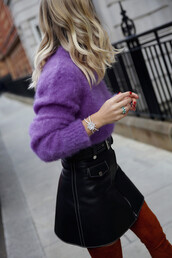jewels,tumblr,jewelry,ring,bracelets,silver bracelet,statement,sweater,purple,fuzzy sweater,skirt,mini skirt,black skirt