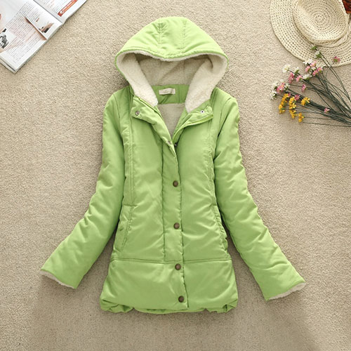 [grxjy560797]Basic Style Solid Color Hooded Padded Jacket Slim Fitted Coat on Luulla
