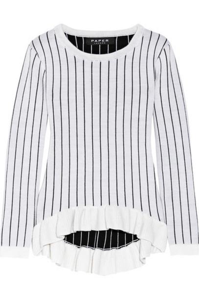 Paper London - Omar Ruffled Pinstriped Merino Wool Sweater - Off-white
