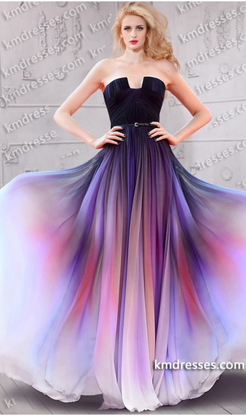 Absolutely flawless multi tonal ombre chiffon gown inspired by lily collins