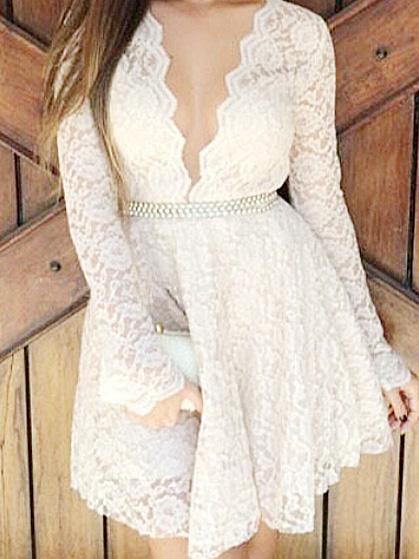 Sexy white lace deep v neck long sleeve a