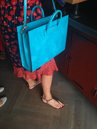 bag purse turquoise square shoulder