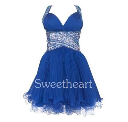 Forever unique blue embellished short prom dress