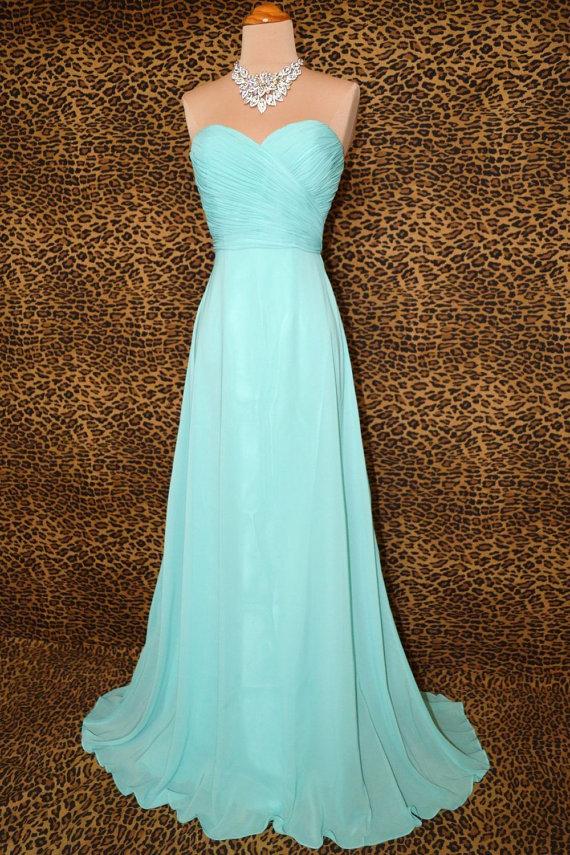 Mint bridesmaid dress prom dress party dress strapless by mjdress