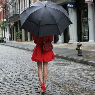 dress tumblr umbrella high heels red shoes shoes red dress mini dress bag red bag chanel chanel bag chain bag fall outfits