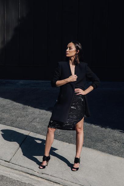 caradisclothed blogger jacket skirt shoes blazer sandals black blazer black skirt