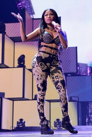 pants tights leggings black gold nicki minaj minaj nicki minaj style vma's vma tight design