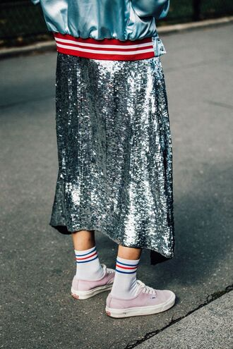 skirt fashion week street style fashion week 2016 fashion week paris fashion week 2016 silver skirt sneakers pink sneakers socks streetstyle tumblr sequin skirt tube socks bomber jacket