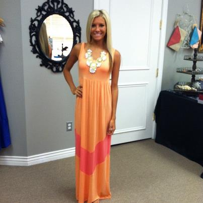 and Pink Color Block Chevron Maxi Dress