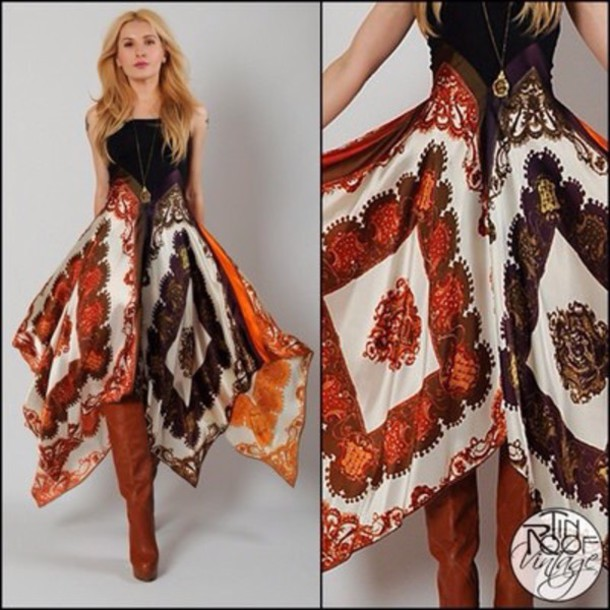 dress hippie stye gypsy dress gypsy necklace brown boots blouse midi dress