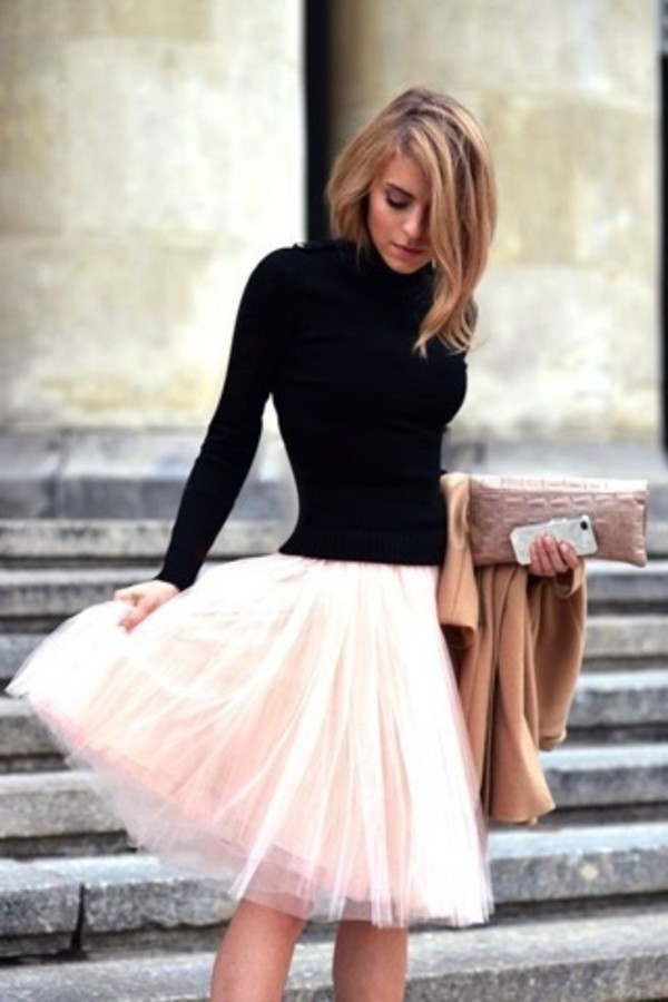 skirt sweater classic clutch tulle skirt white blush