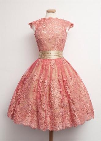 dress vintage rose pastel coral pink
