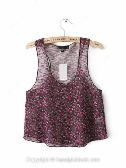 floral red tank top purple crop tops crop tank top floral crop top