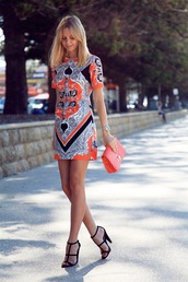 tuula,dress,shoes,bag,jewels,shift dress,multicolor dress,cone heels,t-strap heels,printed dress,black heels,orange dress,short dress,orange bag,orange clutch,blogger,exotic print