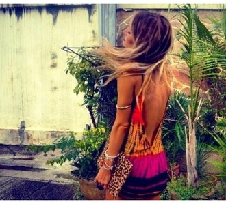 hippie dress ombre orange purple chic tanned multicolor bracelets clutch bag dress hippie hippie chic fashion festival festival dress yellow leopard print boho backless dress style summer dress summer outfits vintage cool girl style