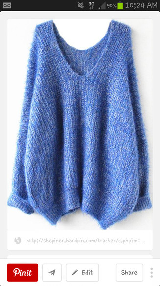 blue sweater long sleeves oversized sweater