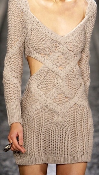 dress knitwear beige dress knitted dress