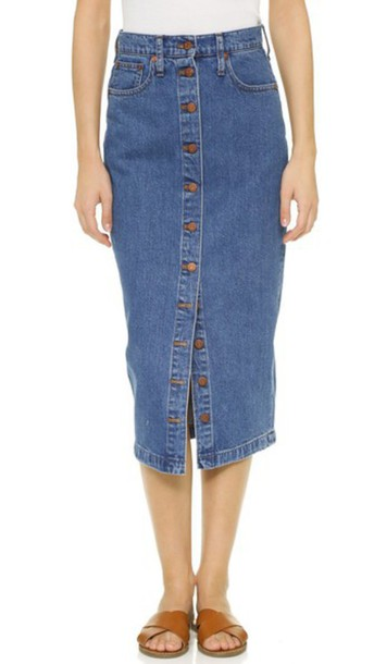 Madewell Denim Midi Skirt - Anaheim Wash