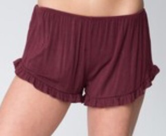 shorts cute comfy summer spring fall outfits ruffle brandy melville brandymelville grey burgundy tumblr