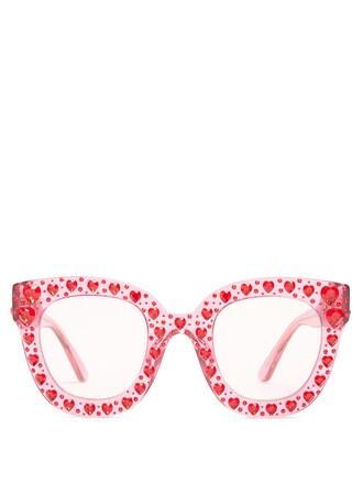 heart embellished sunglasses pink