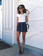 skirt,blogger,sunglasses,white t-shirt,denim button up skirt,black sandals,colorful bag
