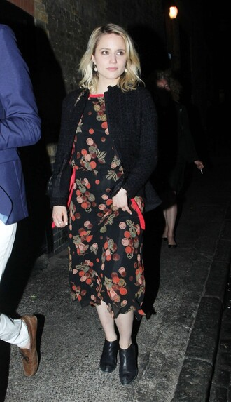 dress midi dress dianna agron ankle boots jacket cardigan