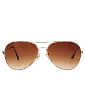 ASOS | ASOS Gold Aviator Sunglasses at ASOS