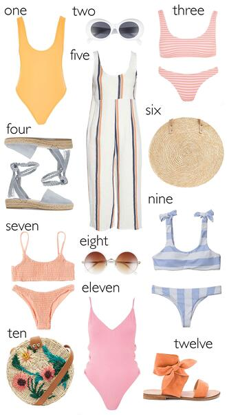 hello fashion blogger sunglasses swimwear shoes jumpsuit bag summer summer outfits bikini round bag espadrilles