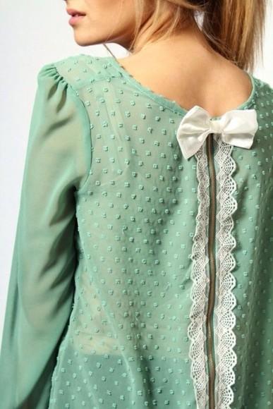 shirt bows lace see through blouse