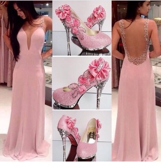 dress pink dress pink shoes flowers sequin dress