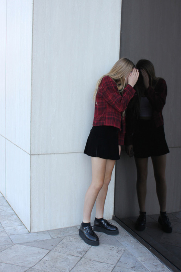 jacket red black fashion skirt