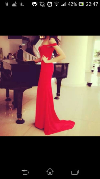 red dress black dresses evening dress classy dress classy dress red plain fab elegant slim no shoulders
