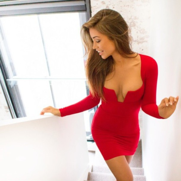 Hot long sleeve sexy u dress