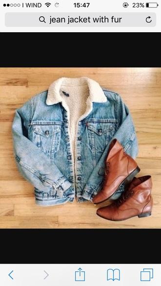 jacket fur denim jacket